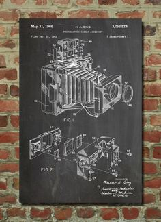 1966 Polaroid Camera Accessory Poster, Photographic Camera Accessory Patent, Photography, Camera Patent, PP34 by PatentPrints on Etsy https://www.etsy.com/listing/182018372/1966-polaroid-camera-accessory-poster