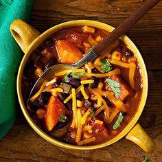 Six lean crockpot recipes from Fitness magazine - Smoky Black Bean and Sweet Potato Chili