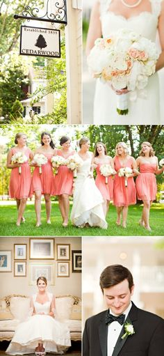 I love that she picked two bridesmaids dress styles all in the same color.
