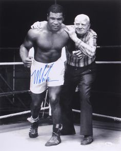 Mike Tyson Signed 16x20 Photo with Cus D'Amato (JSA COA)