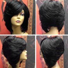 45 Ideas For Haircut Bob Layered Side Bangs Inverted Bob Hairstyles, Medium Bob Hairstyles, Black Girls Hairstyles, Hairstyles With Bangs, Weave Hairstyles, Short Haircuts, Layered Side Bangs, Bob With Bangs, Hair Colors