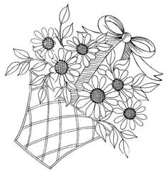flower basket - embroidery pattern