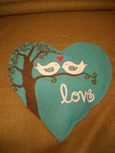 XL Burlap Heart with Love Birds by AsheliCoutureConcept on Etsy, $45.00  Valentine's Day?