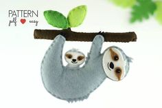 Felt Sloth Pattern - This seriously cute stuffed animal sloth and her even cuter wee baby are stitched entirely by hand and is the perfect sewing pattern for beginners. How will you use your felt sloth? As a toy, baby mobile, garland, ornament, cake topper... whatever you choose! This