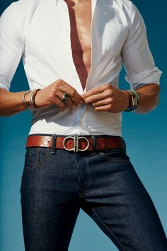 Belt by Salvatore Ferragamo. Jeans Fabric-Brand & Co… Fashion Business, Business Casual, Gq, What To Wear Today, How To Wear, Leather Belt Buckle, Belt Buckles, Leather Belts, Jeans Fabric