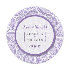 The Modern Paisley Wedding Collection - Purple Paper Plate