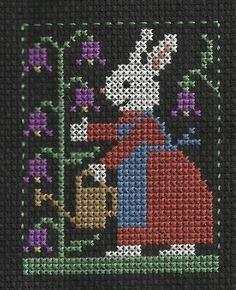 Prairie Schooler Bunnies - Rabbit watering Violets