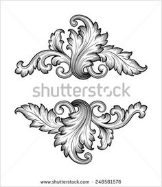 Vintage baroque frame leaf scroll floral ornament engraving border retro pattern antique style swirl decorative design element black and white filigree vector - Shutterstock