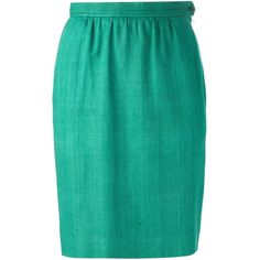 Yves Saint Laurent Vintage Pencil Skirt (560 RON) ❤ liked on Polyvore featuring skirts, green, pencil skirt, vintage skirts, vintage pleated skirt, green high waisted skirt and zipper pencil skirt