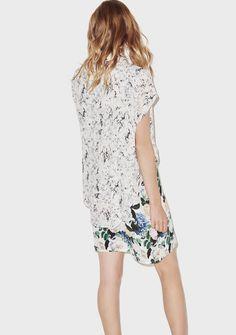 Robe chemise Liane - Fête Impériale  #marble #dress #flowers #velvet #blue #fashion #feteimperiale #shirt