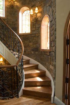 Interior Walls with Pinnacle Stone Veneer - mediterranean - staircase - philadelphia - Pinnacle Stone Products, LLC