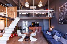 Inspiring loft apartment located in Barcelona, Spain, designed in 2009 by Estudio de Creacion Josep Cano. Living Room Red, Living Room Photos, Living Room Decor, Cozy Living, Loft Design, Deco Design, House Design, Loft Room, Modern Loft