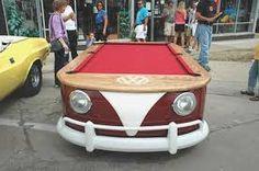VW parts and as a pool table. Volkswagen T1, Cave Pool, Vw Parts, Car Furniture, Play Pool, Vw Camper, Campers, Vw Beetles, Cool Pools
