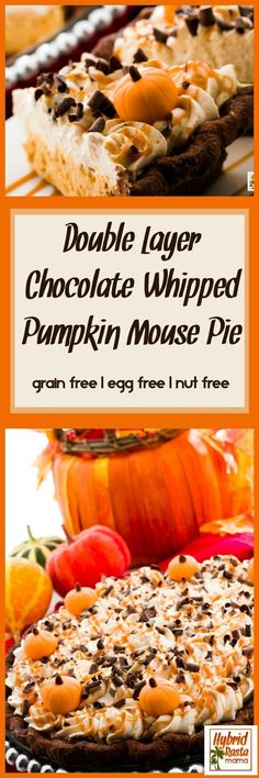 This Double Layer Chocolate Whipped Pumpkin Mousse Pie is a must make for your Thanksgiving desert. It will absolutely blow your guests away! This pumpkin mousse pie is gluten free, grain free, egg free, and nut free. It relies on tigernut flour for the crust. #pumpkin #pumpkinrecipes #pumpkineverything #glutenfree #fallrecipes #tigernuts #dessert #dessertrecipes #mousse   From HybridRastaMama.com  via @hybridrastamama
