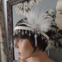 GREAT GATSBY inspired headpiece headband fascinator hair accessories feather ivory roaring 20's wedding headband wedding accessories flapper...