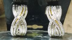 Genuine Diamond Fashion Earrings - Yellow gold plated - 22 diamonds in the set!  $9.95