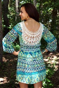 All The Gold Crochet Back Dress Emerald $49.99 #SouthernFriedChics