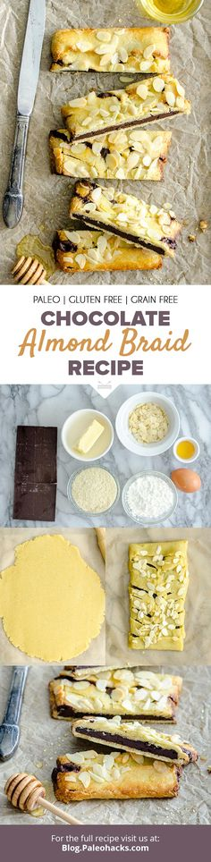 Bake up this melt-in-your-mouth almond braid filled with dark chocolate, honey, and toasted almonds. Criss-cross your way to ultimate indulgence. Paleo Dessert, Paleo Sweets, Healthy Desserts, Dessert Recipes, Dessert Food, Paleo Recipes, Delicious Recipes, Bread Recipes, Cooking Recipes