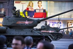 World War II era Soviet tanks T-34, front, and other military vehicles make their way to Red Square during a rehearsal for the Victory Day military parade which will take place at Moscow's Red Square on May 9 to celebrate 70 years after the victory in WWII, in Moscow, Russia, Wednesday, April 29, 2015. (AP Photo/Alexander Zemlianichenko)