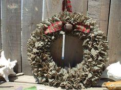 Country Christmas Rag Homespun weath