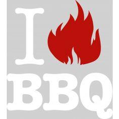 I love (flame) BBQ - White