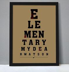 """Cartel - """"Elemental, querido Watson"""", el estilo de tabla optométrica, cartel de película, tipografía, cita de la película """"Las aventuras de Sherlock Holmes"""""""