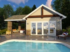 This pool house design is great for any pool owner. The Birchwood plan welcomes all with decorative. Pool House Plans, Cottage House Plans, New House Plans, Cottage Homes, Building Plans, Building A House, Small Pool Houses, Simple Pool, Pool House Designs