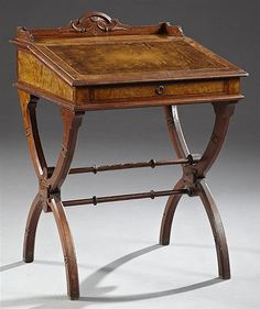 American Carved Walnut Davenport Desk, c