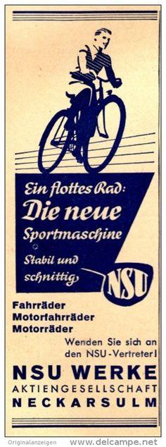 Original-Werbung/ Anzeige 1940 - NSU SPORT- FAHRRAD / NECKARSULM -  ca . 45 x 130 mm