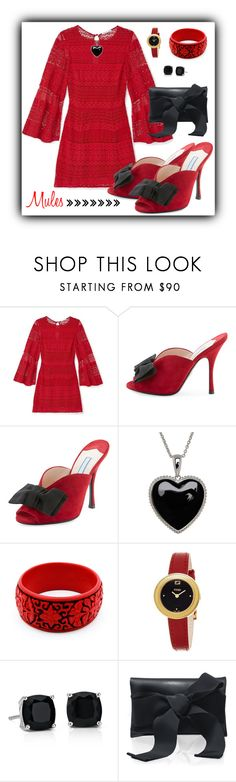 """""""Slip 'Em On: Prada Red Suede Mules with Black Bows"""" by shannon-brennan ❤ liked on Polyvore featuring Rebecca Minkoff, Prada, Lord & Taylor, Fendi, Blue Nile and Oscar de la Renta"""