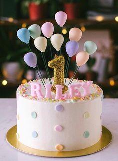 Confetti and balloons 🎈 🎉 - Backen - first birthday cake-Erster Geburtstagskuchen 1 Year Old Birthday Cake, 1st Birthday Cake For Girls, Baby Birthday Cakes, Rainbow Birthday, 1 Year Old Cake, Balloon Birthday Cakes, Cake 1 Year Boy, Simple Birthday Cakes, Happy Birthday 1 Year
