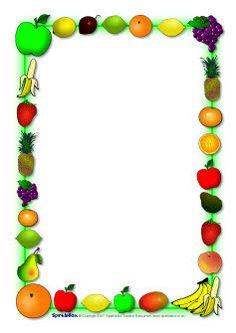Fruit-themed Page Borders Borders For Paper, Borders And Frames, Food Border, Sparkle Box, Giuseppe Arcimboldo, Scrapbook Frames, Page Borders, Fruit Of The Spirit, Kokeshi Dolls