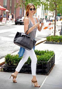 look calça branca regata listras street style