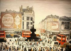 Laurence Stephen Lowry Piccadilly Circus, London 1960 x cm) Tate Britain, Piccadilly Circus, Spencer, English Artists, British Artists, Naive Art, London Art, London Photos, Paint Set