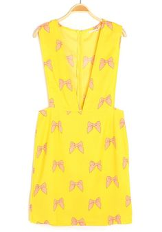 Yellow Butterfly Print Zipper V-neck Sleeveless Chiffon Dress