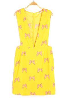 Yellow Butterfly Print Zipper V-neck Sleeveless Chiffon Dress