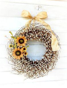 FALL SUNFLOWER WREATH-Rustic Home Decor-Fall Door Wreath-Autumn Wreath-Scented Wreaths-Scented Vanilla Cinnamon-Choose Scent & Ribbon Color
