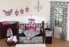 Isabella Hot Pink, Black And White Damask Girls Baby Bedding 9 Piece Crib Set