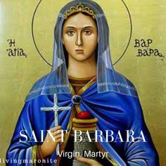 Barbara the Great Martyr a devout to the Holy Trinity. She inscribed a cross into a marble wall and was punished for it. Dioscorus tortured Barbara inhumanely, and after subjecting her to many sufferings he beheaded her with his own hands, in the year Religious Icons, Religious Art, Virgin Mary Art, Saint Barbara, Russian Icons, Religious Paintings, Byzantine Icons, Religion, The Secret History