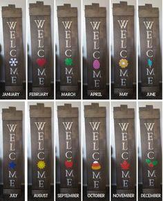 DIY Welcome Sign with interchangeable monthly pictures DIY Willkommensschild mit austauschbaren Mona Wine Bottle Crafts, Mason Jar Crafts, Mason Jar Diy, Diy Home Decor Projects, Craft Projects, Craft Ideas, Diy Ideas, Decor Ideas, Diy Pallet Gift Ideas