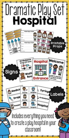 Dramatic Play Set - Doctor or Hospital: This fun, dramatic play unit contains everything that you need to turn part of your classroom into a hospital or doctor's office! Your students will love being able to play doctor, nurse, or surgeon and help patients. All 40 pages of printables will sure to be used while students grow their brains through dramatic play! Simply print each page on card stock and laminate for endless use.