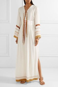 Rachel Zoe - Annabel Grosgrain-trimmed Metallic Gauze Maxi Dress - Ecru - US10