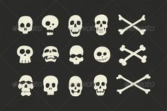 Skulls and Crossbones Halloween Pack #GraphicRiver This set of 12 Skulls and 3 Crossbones Arrives just in time for your halloween project! Each skull/crossbone was handrawn, and the hand inked before being scanned into the computer for further refinement with Adobe Illustrator. The result is A very natural, handcrafted look, and a nice departure from the synthetic/computer generated look. What's included: - 12 Individual Skull files in EPS format - 3 Individual Crossbones files in EPS…