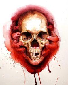 . watercolor red skull