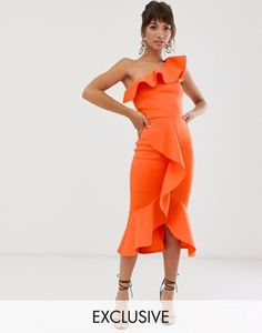 Browse online for the newest True Violet exclusive one shoulder frill bodycon dress in orange styles. Shop easier with ASOS' multiple payments and return options (Ts&Cs apply). Chic Dress, Flare Dress, Mode Orange, Different Types Of Dresses, Orange Skirt, Orange Fashion, Embellished Dress, Simple Dresses, Women's Fashion Dresses