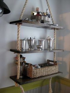 """DIY Bathroom Rope """" Add shelves without putting nails in the walls. Suspend from the center of a garage or tall closet. """" - This would even be cute as just regular hanging shelves in any room. Floating Shelves Bathroom, Bathroom Storage Shelves, Diy Storage, Storage Ideas, Bathroom Organization, Organization Ideas, Shelf Ideas, Storage Shelving, Shelving Ideas"""