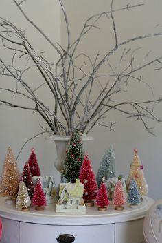 Bottle brush trees and glitter houses table-scape. Merry Little Christmas, Retro Christmas, Winter Christmas, All Things Christmas, Christmas Holidays, Christmas Crafts, Rustic Christmas, Holiday Fun, Christmas Ideas