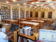 Studying & workspace space of A.T.E.I. of Thessaloniki's library.  It gets deserted in July after the end of the exam period.