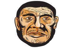 Neanderthal Man Head Etching by patrimonio on Creative Market