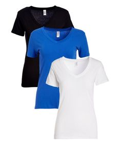Pima Apparel Dazzling Blue & Black V-Neck Tee Set - Women | Zulily
